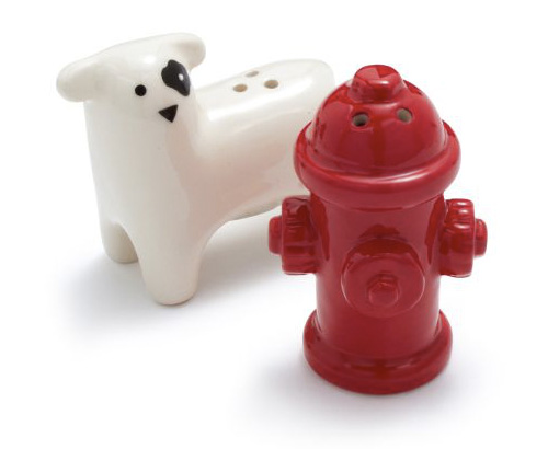 Dog and Hydrant Salt & Pepper Shaker from Sur La Table