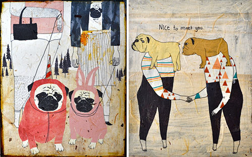 Dog Paintings and Illustrations by Kelly Puissegur