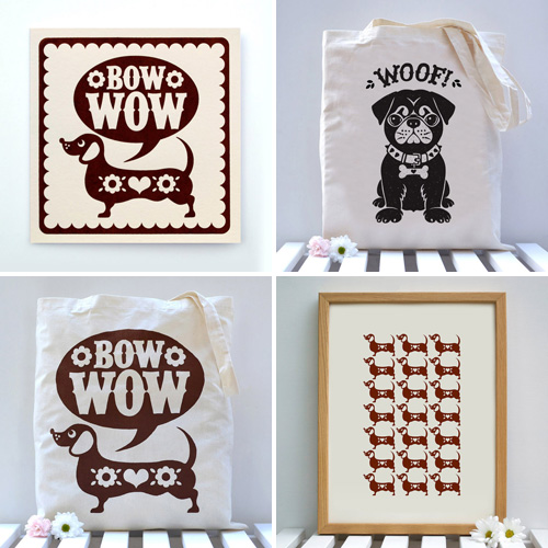Cute Screenprinted Dog Totes, Cards, and Prints from Alexandra Snowdon