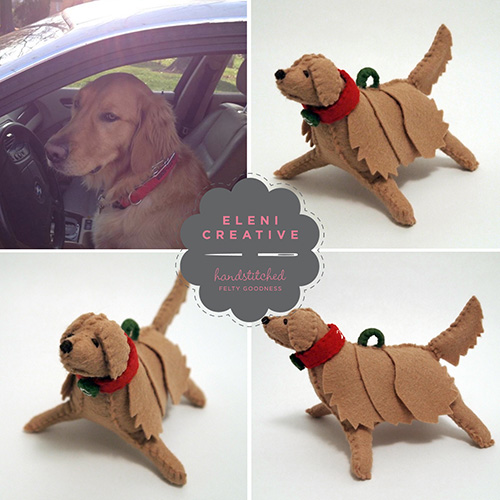 Custom Stitched-Felt Dogs by Eleni Creative