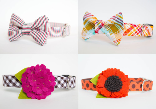 Handmade Dog Collar Bow Ties and Flower Collars by Pecan Pie Puppies
