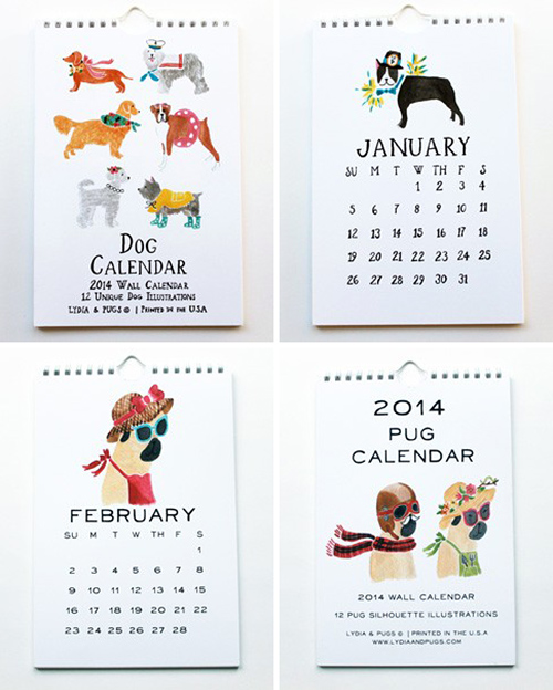2014 Illustrated Dog Calendar by Lydia & Pugs