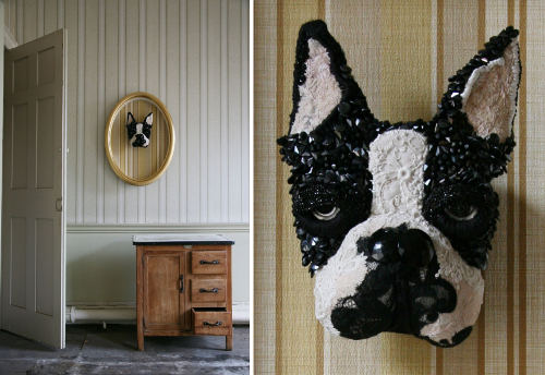Textile Dog Sculptures by Donya Coward