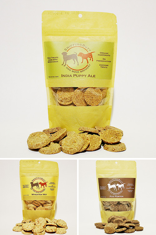Beer Grain Dog Treats by SniffingButt Dog Bone Brewery