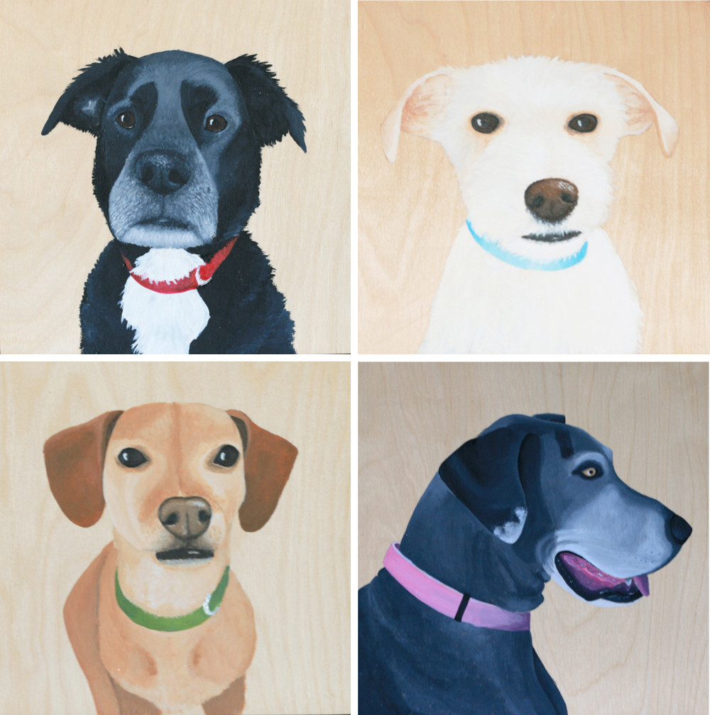 Custom Gold Leaf Pet Portraits by Colleen Stuber