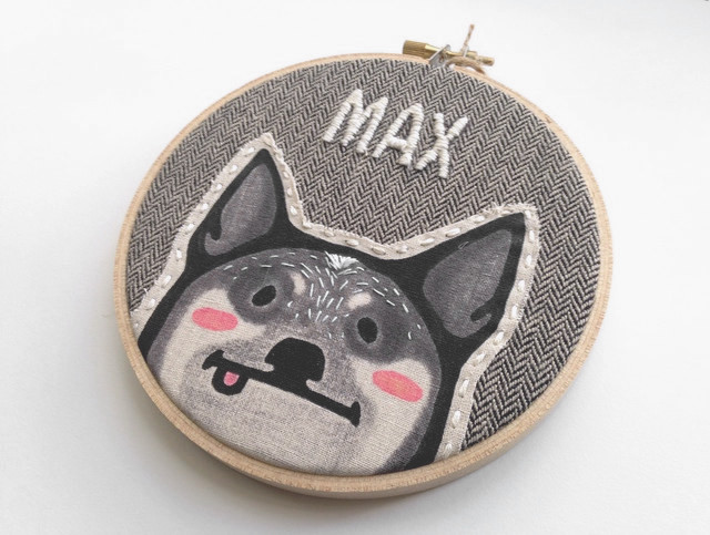 Pet Portrait Embroidery Hoop Art from Hither Rabbit