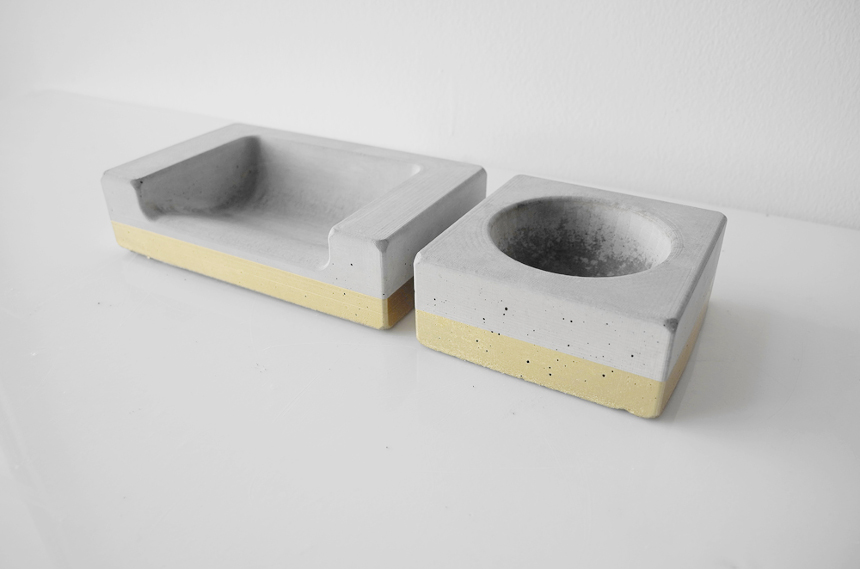 Modern Concrete Dog Bowls from The Urban Animal Scientist