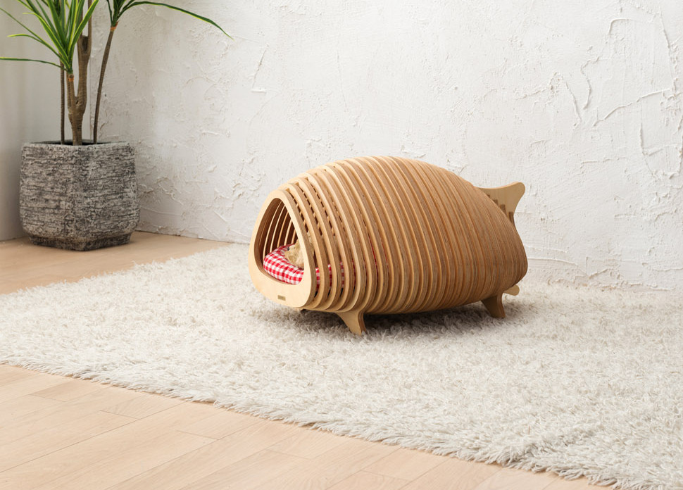 Modern Fishbone-Inspired Dog House from POTE