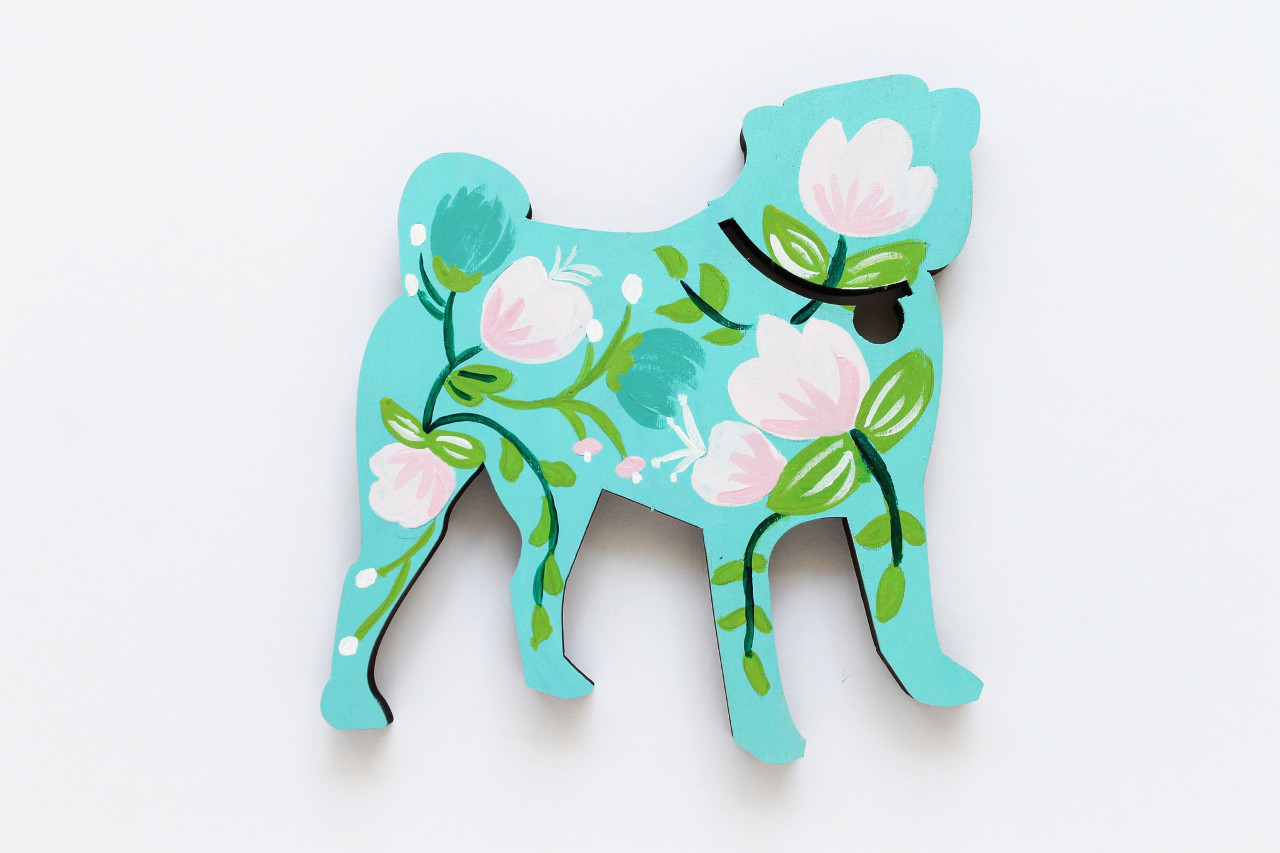 One-of-a-Kind Painted Wood Pugs from Lydia & Pugs