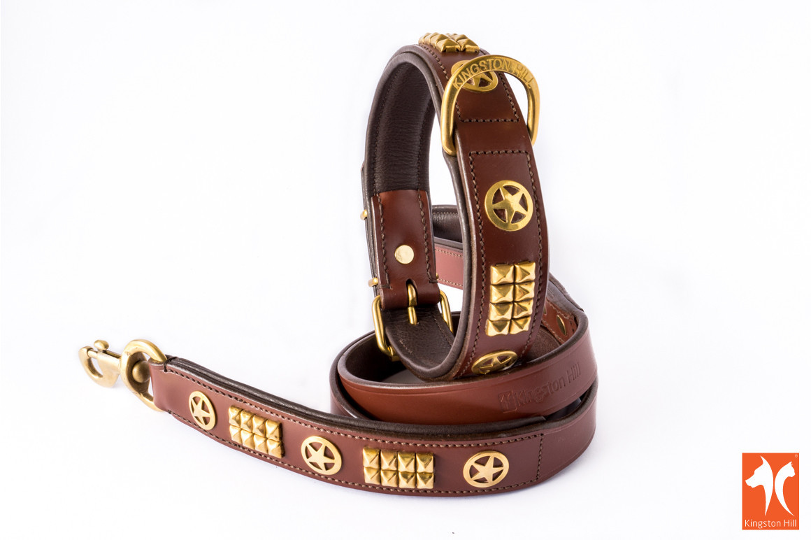 Studded Leather Collars & Leashes from Kingston Hill