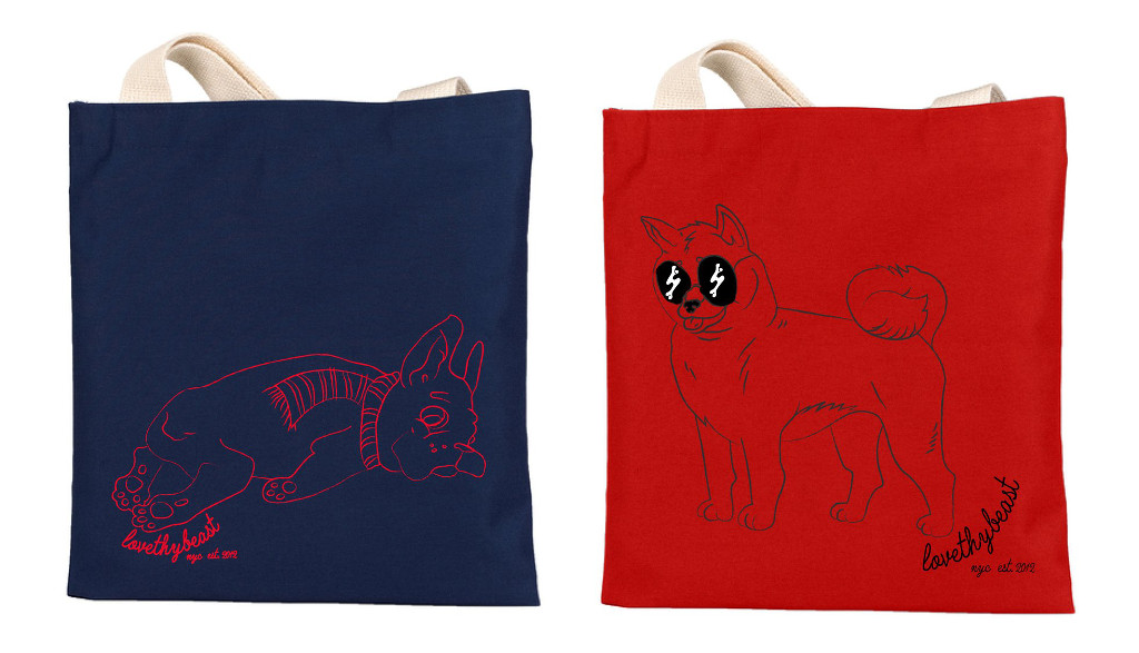 Illustrated Dog Tote Bags and Enamel Pins from LoveThyBeast