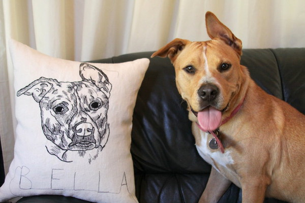 Custom Embroidered Pet Pillows from Hyla Frank