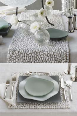 I love these white stone placemats, runner, and coasters from VivaTerra.  How refreshing for your dining table. Lately, I am really into the white,  gray, ...