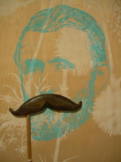 Carved Wood Mustache on a Stick