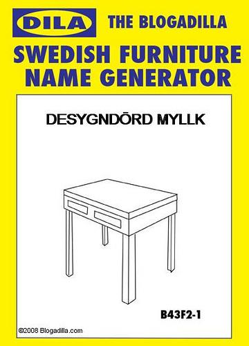 The Blogadilla Swedish Furniture Name Generator