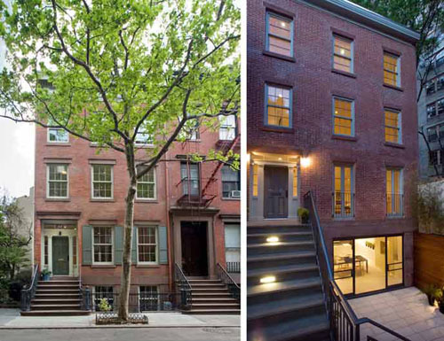 Jane street townhouses in new york by murphy burnham for Townhouse with garage nyc