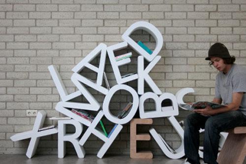 Letters Bookshelf by Pieter de Leeuw