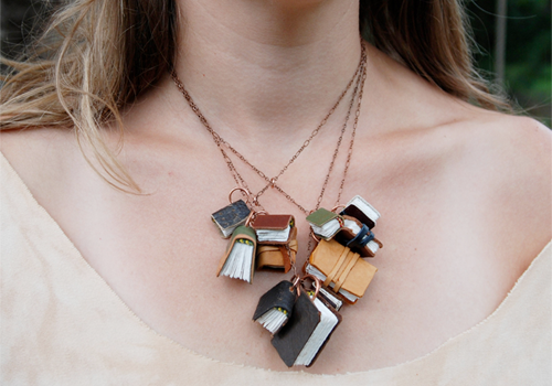 Autumnal Library Book Necklaces by TheBlackSpotBooks