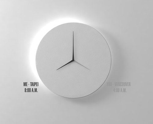 Long D Dual Time Wall Clock Design Milk
