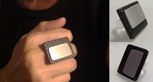 Carbon Fiber and Titanium Rings by Maria Pirela