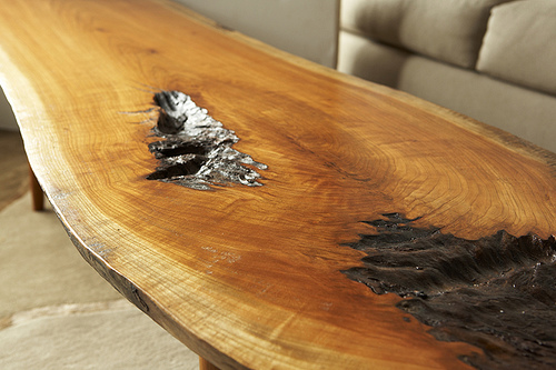 Michael James Moran - Cherry Slab Coffee Table with handturned legs