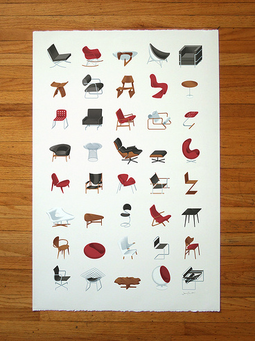 Mid Century Modern Furniture Poster in art  Category