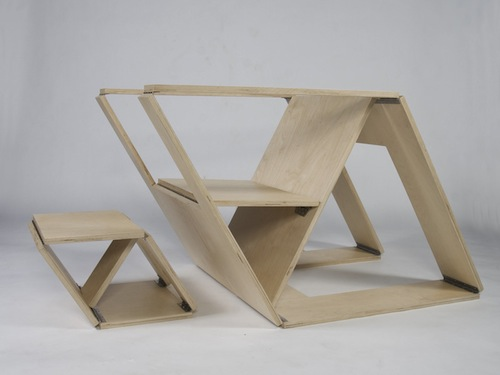 Folding Chair and Ottoman by Brainstream