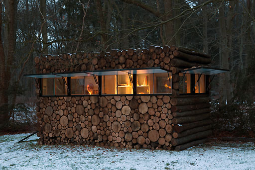 This small recording studio designed by Piet Hein Eek for entertainer Hans  Liberg is a modern spin on a log cabin. The exterior is consists of many  logs ... - The Rise Of The Backyard Office - Design Milk