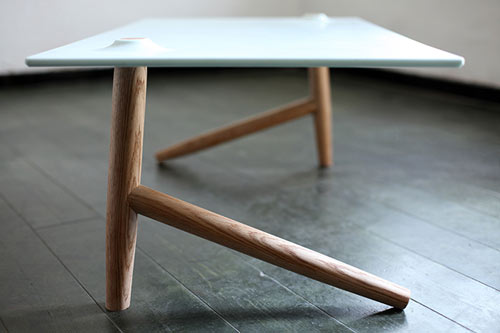 A Coffee Table Based On Two Legs Only. The Two Legs Support And Balance  Each Other, And Together Carry The Upper Surface. In Order To Achieve  Stability, ...