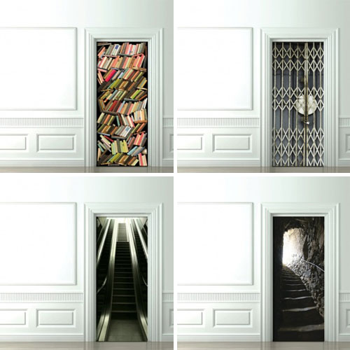 Trompe l 39 oeil door wallpaper design milk for Door mural wallpaper