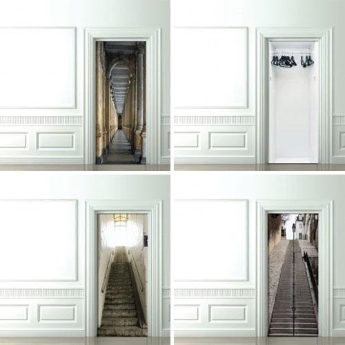 trompe l 39 oeil door wallpaper design milk