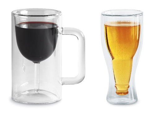 Vino Mug and Bottoms Up Beer Glass