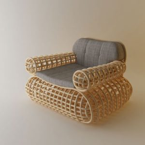 Doeloe Lounge Chair and Pretzel Bench by Abie Abdillah