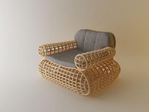 Doeloe Lounge Chair and Pretzel Bench by Abie Abdillah