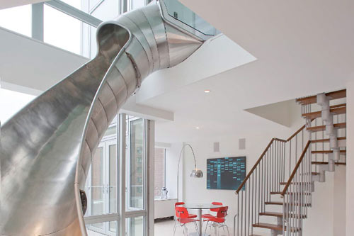 An NYC Home with a Steel Slide by Turett Collaborative Architects