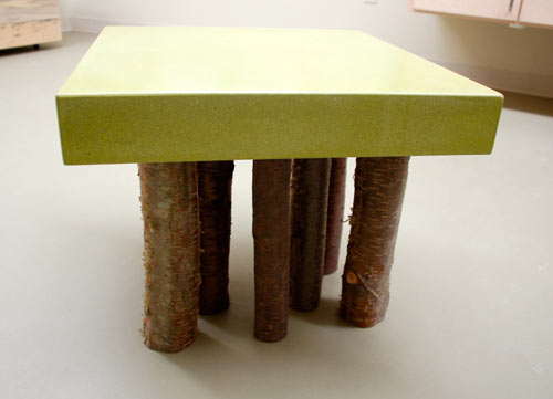 Concrete and Birch Furniture from The Refinery Concrete