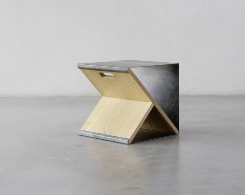Skim Milk: Steel Stool by Noon Studio