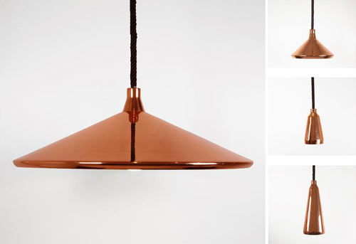 A-Shades by Bec Brittain are spun metal pendant lamps in various shapes  treated with a mirrored copper finish.