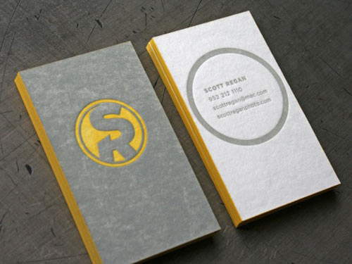 10 creative business card designs design milk design by caryn gutterman for scott regan found via beast pieces soft textured grey yellow and white with modern logo and graphics reheart Images