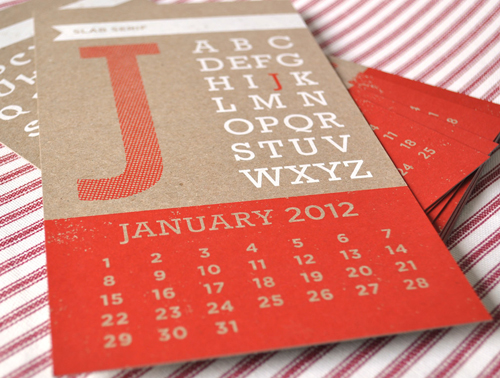Two trick pony designed this year of type calendar using red and white inks on chipboard twelve different type styles are used on this screen printed 5″x9″