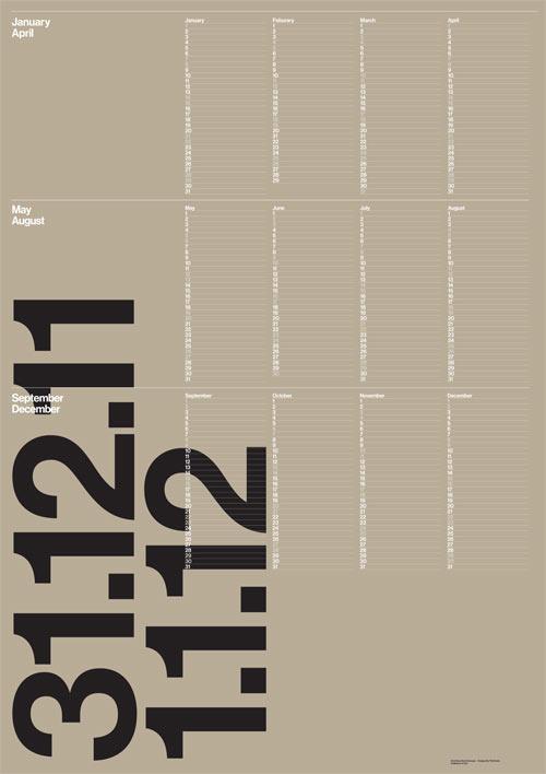 Typography Wall Calendar : Modern calendars design milk