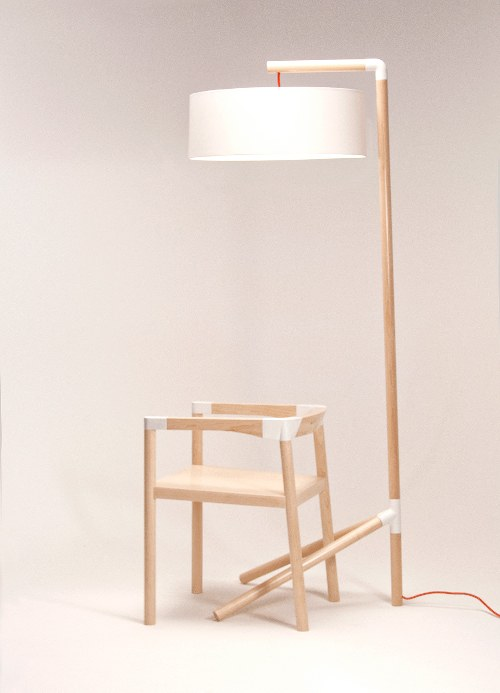 Peg Lamp and Chair by Tomas Rojcik