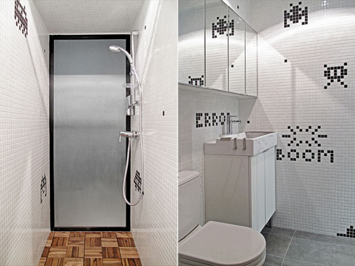 Hong Kong Apartment with Space Invaders Bathroom by OneByNine