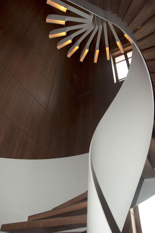 spiral staircase lighting. The Lighting Concept Mimics Spiral And Gives A Sculptural Element To Often Dead Space At Top Of Most Staircases. Light Fans Down Around Staircase