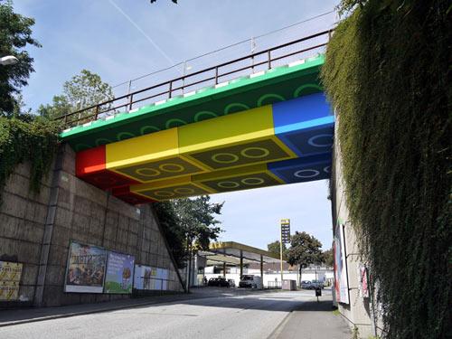 Bridge Transformed into Giant LEGO Bricks by German Street Artist MEGX