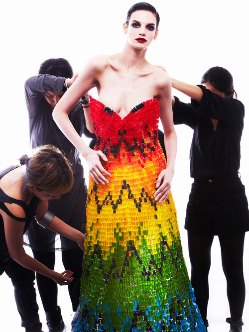 Alexander McQueen Rainbow Dress Recreated Using 50,000 Gummi Bears Looks Good Enough to Eat in style fashion art  Category