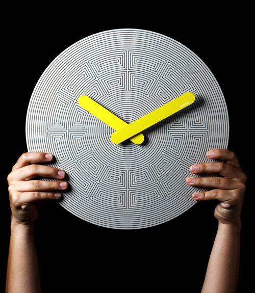 Op Art Style Cardboard Pensamientos Clock by 2y1dea in technology main home furnishings  Category