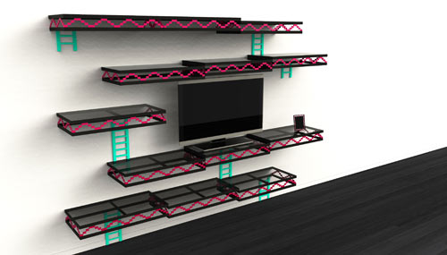 Donkey Kong Inspired Wall Shelving by Igor Chak in technology main home furnishings  Category