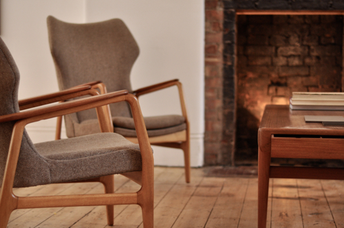 Pair of original 1960s teak and beech armchairs by Dutch furniture makers  Bovenkamp. A Visit to F rest London   Design Milk