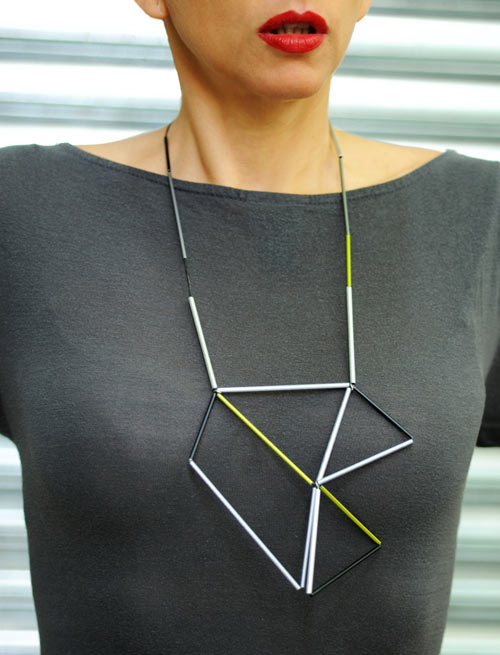 Aluminum and Leather Prism Necklace by Metalnat in style fashion main  Category